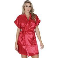Robe Click Chique Manga Curta Com Amarradura - Feminino-Vermelho