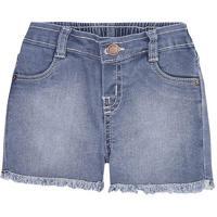Shorts Jeans Bebê Menina Com Lavação Tradicional Puc