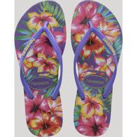 461727dad9 CEA  Chinelo Feminino Havaianas Slim Estampado Floral Roxo Neon