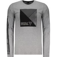 Camiseta Fatal Grid Estampada Manga Longa Masculina - Masculino-Mescla