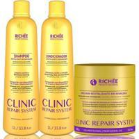Kit Richée Clinic Repair System 1 Shampoo 1L + Condicionador 1L + Máscara 500G - Unissex-Incolor