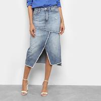 Saia Jeans Ellus Midi Corte Assimétrico - Feminino-Azul