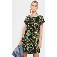 Vestido Heli Reto Tropical - Feminino-Preto