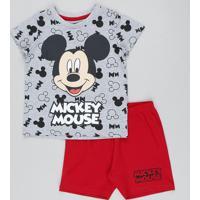 Pijama Infantil Mickey Estampado Manga Curta Cinza Mescla