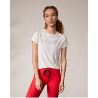 Amaro Feminino Camiseta Run Biodegradável Estampada, Off-White