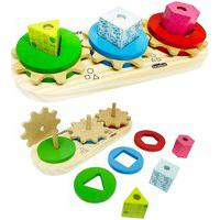 Brinquedo Educativo Madeira Encaixe Geométrico Engrena Roda
