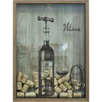 Quadro Porta Rolhas 32X42X4Cm Wine Garrafa Natural