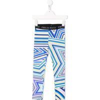 Emilio Pucci Junior Calça Legging Com Logo No Cós - Azul