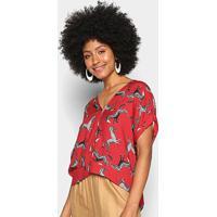 Blusa Colcci Estampada Mullet Gola V Feminina - Feminino-Vermelho