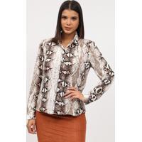 Camisa Animal Print - Marrom Escuro & Branca- Miliormiliore