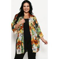 Kimono Com Fendas- Amarelo & Marrom- Luktalluktal