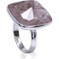 Anel De Prata Cristal Rajado Geométrico