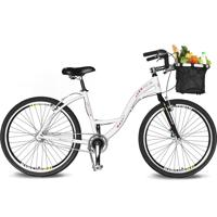 Bicicleta Kyklos Aro 26 Urbis 8.2 V-Brake Sem Marcha Com Cesta Branco
