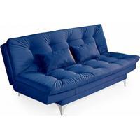 Sofá-Cama 3 Lugares Casal Com Chaise Versátil Veludo Liso Azul Marinho