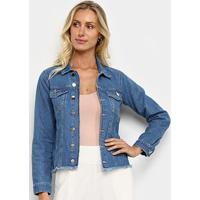 Jaqueta Jeans Influencer Barra Desfiada Feminina - Feminino-Azul
