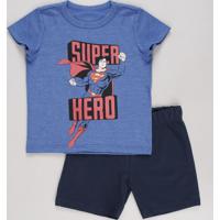 Conjunto Infantil Super Homem De Camiseta Manga Curta Azul + Bermuda Em Moletom Azul Marinho