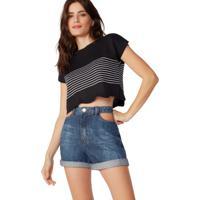 Shorts Jeans Bolso Recorte