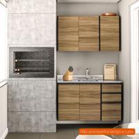Cozinha Compacta Mali 5 Pt 3 Gv Nogal E Preta