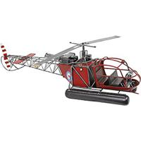 Miniatura Helicóptero Vermelho Grande Oldway Em Metal - 82X24 Cm