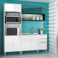 Cozinha Modulada Compacta 6 Portas E 3 Gavetas Vanguarda Branco/Verde - Urbe Móveis