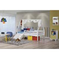 Cama Infantil Prime Com Grade De Proteção, Telhado Vi, Xale E Kit Escada/Escorregador - Casatema