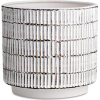 Kit Cachepot 2Pçs Rústico Cerâmica Branco Mart Collection