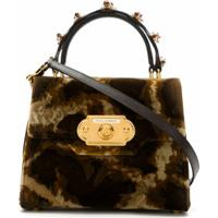 Dolce & Gabbana Bolsa Tiracolo Welcome Com Animal Print - Marrom