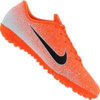 Chuteira Society Nike Mercurial Vapor X 12 Academy Tf - Adulto - Laranja/Branco