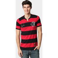 Camiseta Retrô Flamengo Rondinelli Masculina - Masculino-Vermelho+Preto