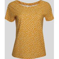 Blusa Feminina Estampada De Poá Manga Curta Decote Redondo Amarela
