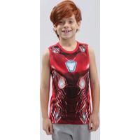 Regata Infantil Homem De Ferro Gola Careca Vermelha