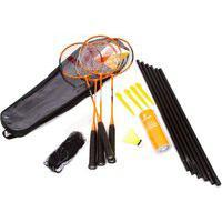 Kit Badminton Vollo 4 Raquetes + 3 Petecas + Suporte E Rede