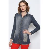 Camisa Jeans Com Puídos- Azul Escurodimy