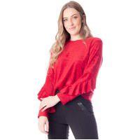 Blusa Cropped Feminina Cachepô Com Babados Vermelho