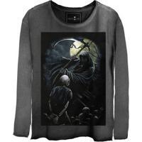 Camiseta Estonada Manga Longa Skull Axe
