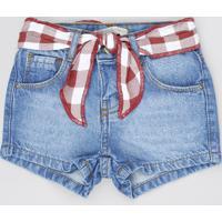 Short Jeans Infantil Com Faixa Para Amarrar Azul Médio