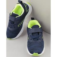 Tênis Infantil Esportivo Com Micro Furos E Velcro Azul Marinho
