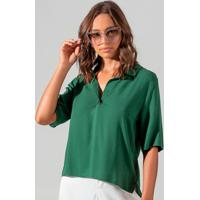 Camisa Polo Decotada Feminina Verde
