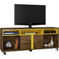 Rack Para Tv Caribe Com Rodízios Cor Madeira / Amarelo
