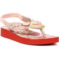 Sandália Infantil Para Menina Moranguinho Pop Baby Vermelho/Rosa