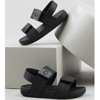 Sandália Papete Infantil Cartago Com Velcro Preta