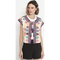 Blusa Com Bordado & Amarração- Bege & Pink- Cotton Ccotton Colors Extra