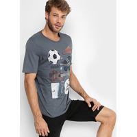 Camiseta Gonew Samba Cerveja E Futebol Masculina - Masculino-Cinza