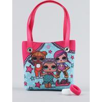 Bolsa Infantil Lol Surprise Estampado + Elásticos De Cabelo Pink - Único