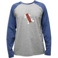 Camiseta Alkary Raglan Manga Longa Canivete Suiço Mescla E Azul