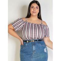Blusa Listrada Rosa Com Ombros Vazados Plus Size