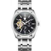 Relógio Tevise 8379A Masculino Automático Pulseira Aço - Branco E Preto