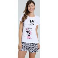 Pijama Feminino Short Doll Estampa Mickey E Minnie Disney