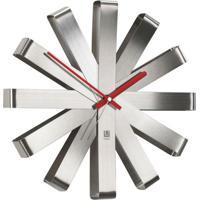 Relógio De Parede Ribbon Prata