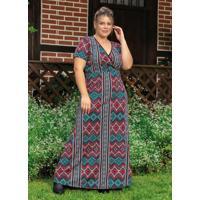 Vestido Longo Étnico Vermelho Plus Size